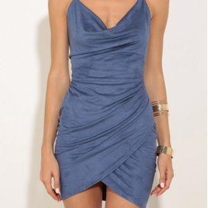 Suede Tulip dress blue